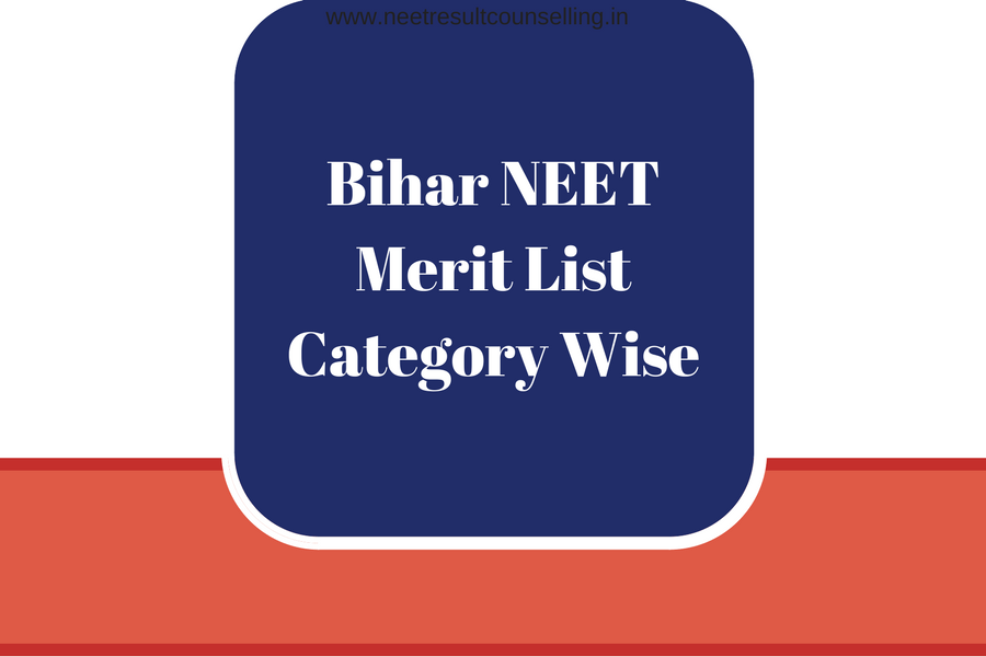 Bihar NEET Merit List Category Wise