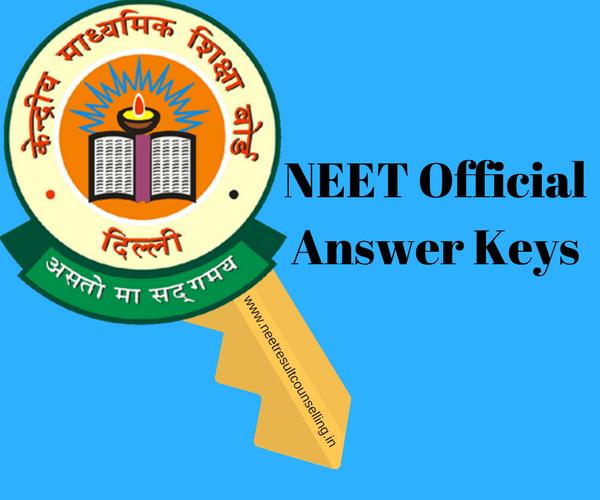 NEET Official Answer Keys