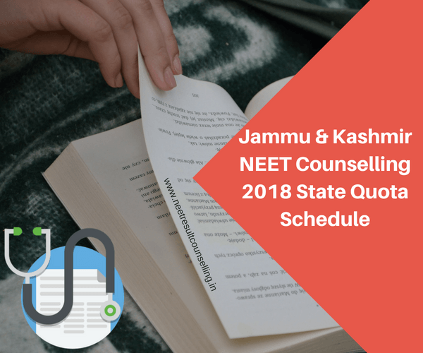 Jammu & Kashmir NEET Counselling 2018 State Quota Schedule