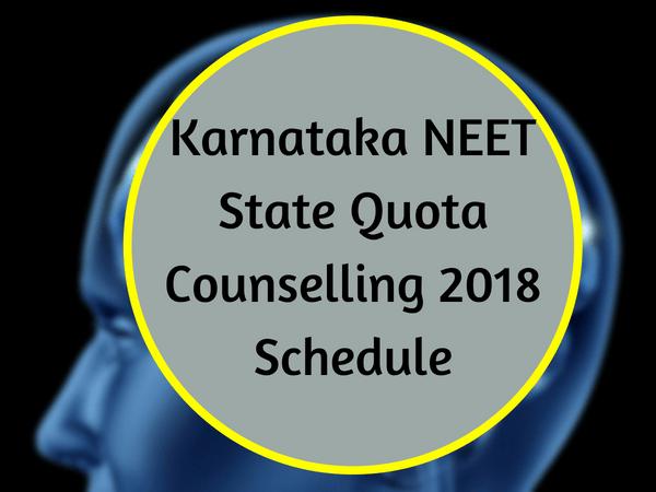Karnataka NEET State Quota Counselling 2018