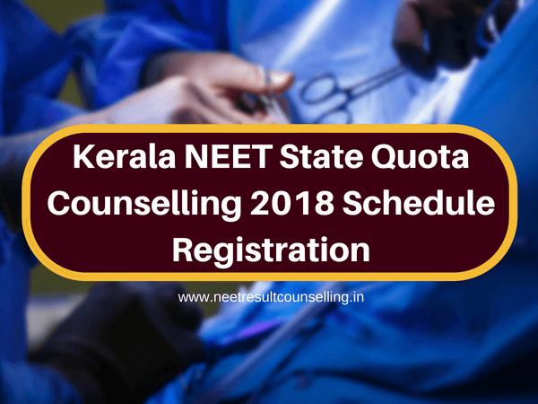 Kerala NEET State Quota Counselling 2018