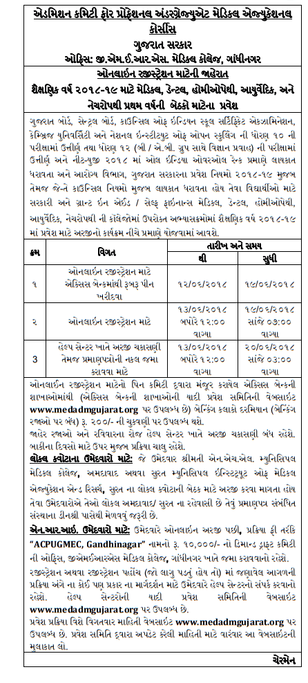 Gujarat NEET State Quota Counselling 2018 Schedule Registration