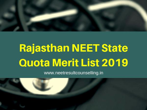 Rajasthan NEET State Quota Merit List 2019