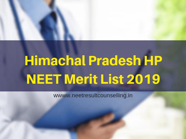 Himachal Pradesh HP NEET Merit List 2019