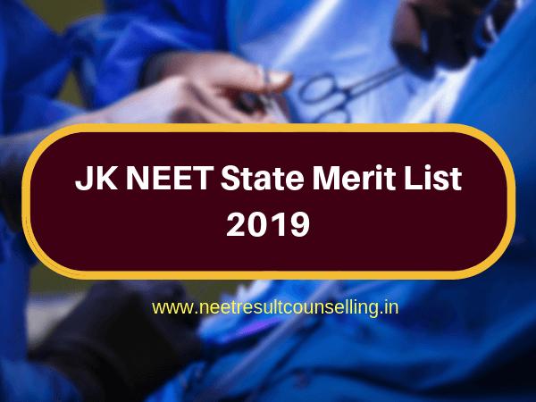 JK NEET State Merit List 2019